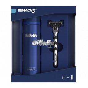 Gillette Mach3 holiaci strojček + náhradné hlavice 1 kus + gél na holenie 200 ml, kozmetická sada