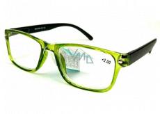 Berkeley Čítacie dioptrické okuliare +3,0 plast priehľadné zelené, čierne stranice 1 kus MC2166