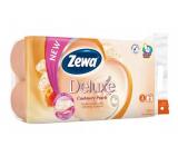 Zewa Deluxe Aqua Tube Cashmere Peach parfumovaný 3 vrstvový 150 útržkov 8 kusov, rolička, ktorú môžete spláchnuť