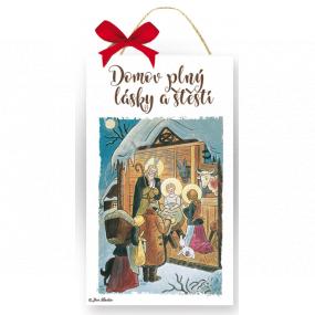 Nekupto Drevená ceduľka Josef Lada Domov plný lásky a šťastia 20 x 12 x 0,5 cm