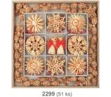 Slaměné dekorace v dřevěné krabičce s řetězem 2 m 51 ks