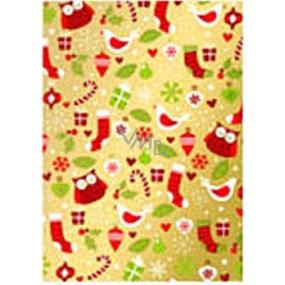 Ditipo Darčekový baliaci papier 70 x 500 cm Vianočné zlatý vtáčiky, dárečky2033913