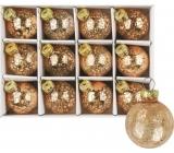 Banky sklenené zlaté súprava 3 cm, 12 kusov