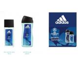 Adidas UEFA Champions League Dare Edition VI parfumovaný deodorant sklo pre mužov 75 ml + sprchový gél 250 ml, kozmetická sada