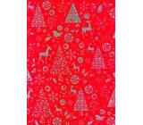 Ditipo Darčekový baliaci papier 70 x 150 cm Vianočný červený holografický strieborný potlač