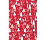 Ditipo Darčekový baliaci papier 70 x 500 cm Červený bielej a zlatej stromčeky