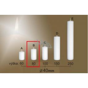 Lima Gastro hladká sviečka biela valec 40 x 80 mm 1 kus