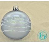 Irisa Banky sklenené šedej metal, biele zdobenie, sada 7 cm 12 kusov