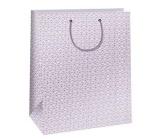 Ditipo Darčeková papierová taška 32,4 x 10,2 x 45,5 cm biela, ružový ornament QXA