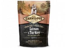 Carnilove Puppy Salmon + Turkey krmivo bez obsahu obilnín a zemiakov pre šteňatá veľkých plemien vo veku 3 - 30 mesiacov as váhou v dospelosti nad 25 kg 1,5 kg