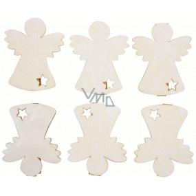 Anjel drevený na kolíčku 6 cm 6 kusov