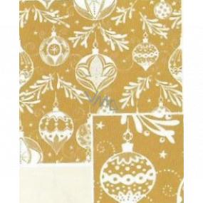Nekupto Darčekový baliaci papier 70 x 200 cm Vianočný Zlatý s bielymi bankami