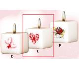 Lima Valentínska sviečka 1 srdiečko sviečka s obtiskom biela kocka 45 x 45 mm 1 kus