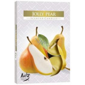 BISPOL Aura Jolly Pear - Veselé hrušky vonné čajové sviečky 6 kusov
