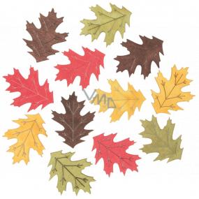 Listy drevené žlto-zeleno-červeno-hnedej 4 cm 12 kusov