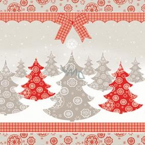 Ditipo Papierové obrúsky 3 vrstvové 33 x 33 cm 20 kusov Vianočný Hnedé a červené stromčeky