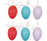 Vajíčka plastová na zavěšení červená, modrá, tyrkysová 6 cm 6 kusů v sáčku