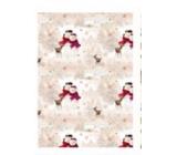 Ditipo Vánoční balicí papír pro děti 100 x 70, 2 kusy, bílo-béžový sněhuláčci