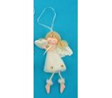 Anjel plyšový smotanový s nôžkami srdce na zavesenie 14 cm