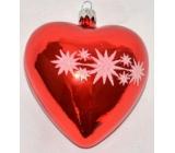 Irisa Banka sklenená srdce červená, bielo zdobená 1 kus