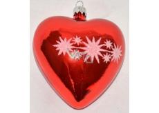 Irisa Baňka skleněná srdce červená, bíle zdobená 1 kus