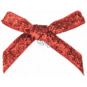 Mašľa zamatová úzka červená trblietavá 8 cm 12 kusov