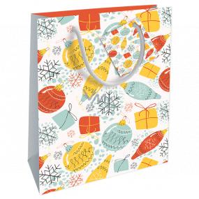 Nekupto Darčeková papierová taška 23 x 18 x 10 cm Vianočný s ozdobami WBM 1926 02