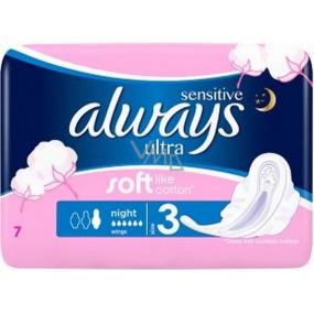 Always Sensitive Ultra Night hygienické vložky s krídelkami 7 kusov