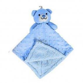 First Steps Usínáček s plyšovou hlavičkou Medveď modrý 30 x 28 cm