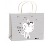 Taška darčeková celoročné pre deti M sivá mačka 23x18x10cm