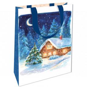 Nekupto Darčeková papierová taška s razbou 17,5 x 11 x 8 cm Vianočný modrá s chalúpkou WLFS 1988