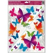 Room Decor Okenní fólie bez lepidla rohová pestrobarevní motýli č.1 42 x 30 cm