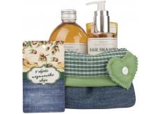 Bohemia Gifts & Cosmetics Arganový olej V objetí arganového oleje sprchový gel 250 ml + šampon na vlasy 250 ml + pěna do koupele 500 ml + látkový košík, kosmetická sada