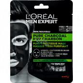 Loreal Paris Men Expert Pure Charcoal čistiaca textilné pleťová maska pre mužov 30 g