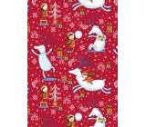 Ditipo Darčekový baliaci papier 70 x 200 cm Vianočný červený jeleň s dievčatkom
