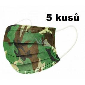 Rúška 3 vrstvová ochranná zdravotné netkaná jednorazová, nízky dýchací odpor 10 kusov Kamufláž