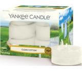 Yankee Candle Clean Cotton - Čistá bavlna vonná čajová sviečka 12 x 9,8 g