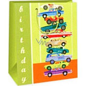 Ditipo Darčeková papierová taška 26,4 x 13,7 x 32,4 cm zelená auta AB