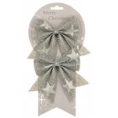 Mašle jutová šedá se stříbrnými hvězdami 13 cm, 2 kusy