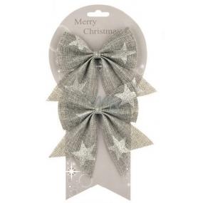 Mašle jutová šedá se stříbrnými hvězdami 13 cm, 2 ks