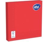 Aha Papierové obrúsky jednofarebné 3 vrstvové 33 x 33 cm 20 kusov červenej sýte