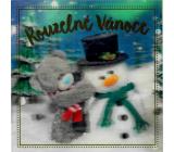 Me to You Blahoželania do obálky 3D Čarovné Vianoce Medvedík so snehuliakom 15,5 x 15,5 cm