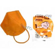 Famex Respirátor ústnej ochranný 5-vrstvový FFP2 tvárová maska oranžová 1 kus