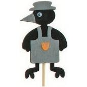 Vrána v zástěře šedá zápich 7 cm + špejle 15 cm