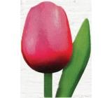 Bohemia Gifts Dřevěný tulipán růžovo-červený 20 cm