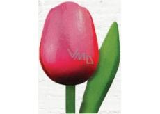 Bohemia Gifts & Cosmetics Drevený tulipán ružovo-červený 20 cm