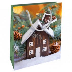 Nekupto Darčeková papierová taška 23 x 18 x 10 cm Vianočný s chalúpkou WBM 1940 50