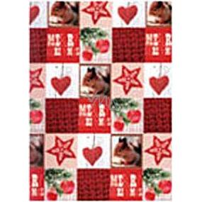 Ditipo Darčekový baliaci papier 70 x 500 cm Vianočný červený veverička