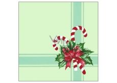 Forest Vianočný papierové obrúsky Zelené s červenou mašľou 1 vrstvové 33 x 33 cm 20 kusov