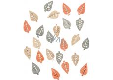 Listy drevené prírodné farby 2 cm 24 kusov